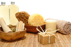 Natural Body Care Accessories In A Spa Royalty Free Stock Photos