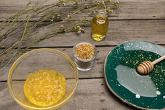 Natural body care and aromatherapy products on wooden table Stock Image