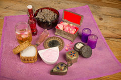 Natural body care. Assortment of natural cosmetics with some of their ingredients royalty free stock photography