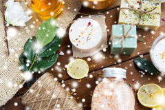 Natural body care cosmetics on wood stock photos