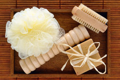 Natural Body Care Spa Accessories in a Wood Tray royalty free stock photography