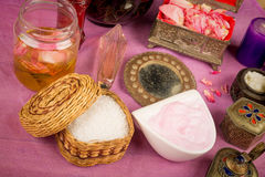Natural body care still life. Assortment of natural cosmetics with some of their ingredients Stock Photography