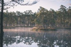 Natural body of water. pond with reflections - vintage retro loo. Natural body of water. pond with reflections of trees and clouds in calm water surface royalty free stock photography