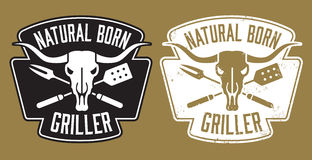 Natural Born Griller barbecue  image with cow skull and crossed utensils. Stock Photo