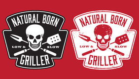 Natural Born Griller barbecue  image with skull and crossed utensils. Barbecue design with the words Natural Born Griller and skull with crossed barbecue fork Stock Photos