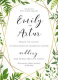 Natural botanical wedding invitation, invite, save the date temp Royalty Free Stock Photos