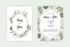 Natural botanical wedding invitation template. Vector floral design card. Geometrical golden frame, border with copy. Natural botanical wedding invitation vector illustration
