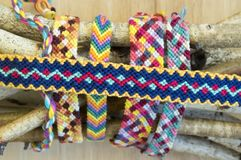 Natural bracelets of friendship, colorful textured bracelet accessories Royalty Free Stock Photos