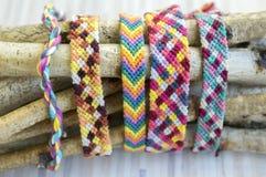 Natural bracelets of friendship, colorful textured bracelet accessories Stock Image