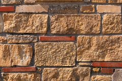 Natural brick stone wall texture background facade surface.  stock image