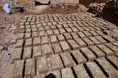 Natural bricks drying in the sun, Morocco Royalty Free Stock Photography