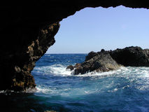 Natural Bridge. A natural bridge in the area of Aruba that tourists dont usually see stock images