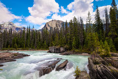 Natural Bridge area of  Yoho National Park, British Columbia, Canada. The powerful currents of the Kickinghorse River, over time, created natural bridges Stock Images