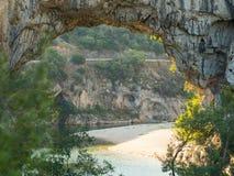 Natural Bridge Pont d`Arc in Southern France stock photos