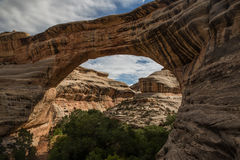 Natural bridge. Sipapu bridge at Natural Bridges National Monument in Utah is the largest of the three bridges for which this monument gets its name Stock Photography
