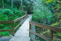 Bridge to the Saltpeter Cave. Natural Bridge State Park, Rockbridge County, VA – August 24th: Bridge leading to the opening of the Saltpeter Cave next to stock photography
