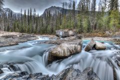Natural Bridge at Yoho National Park in British Columbia. Rushing waters from the Kicking Horse River carves through the rocks at Natural Bridge in Yoho National Royalty Free Stock Images