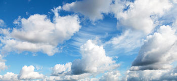 Natural bright blue cloudy sky background texture Royalty Free Stock Photo