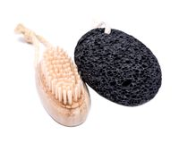 Natural bristle hand and nail wooden brush and volcanic pumice stone Royalty Free Stock Photos