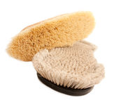 natural bristles brushes for grooming horse Stock Image