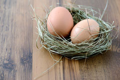 Natural brown eggs in a nest Royalty Free Stock Images