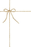 Natural brown jute twine hemp rope, tie a knot / bow in the middle of the cord. Stock Photography