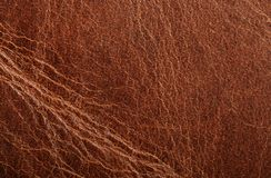 Brown leather texture. Natural brown leather texture background close up view Stock Photos
