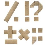 Natural brown origami folded craft eco paper alphabet (abc) letters and punctuation (percent, plus, minus, dot, question,. Exclamation mark stock photos