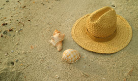 Natural brown straw hat with beautiful natural seashells on the sand beach Royalty Free Stock Photography