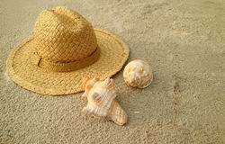Natural brown straw hat with beautiful natural seashells on the sand beach Stock Photo