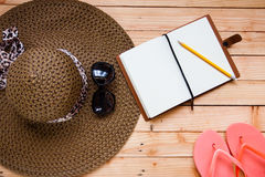 Natural brown straw sun hat Stock Image
