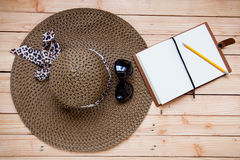 Natural brown straw sun hat Stock Images