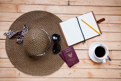 Natural brown straw sun hat Stock Photo