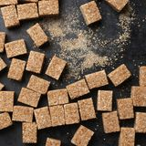 Natural brown sugar cubes Royalty Free Stock Image