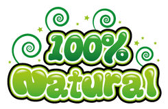 100% Natural. In bubble font vector illustration