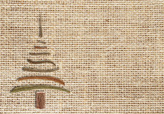 Natural burlap background  with christmas tree  and copy space Royalty Free Stock Photography