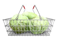 Natural cabbage in the shopping basket at white background isolated. Organic vegetarian food. Stock Image