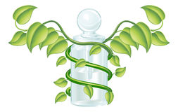 Natural caduceus bottle concept vector illustration