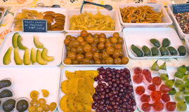 Natural candied fruit made from fruits on city market Royalty Free Stock Photos