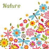 Natural card with beautiful flowers, beetles and Stock Image