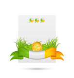 Natural card with coin, clovers, grass and ribbon -  in traditio Royalty Free Stock Photography