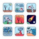 Natural cataclysm icons set. Drought, flood, earthquake, tornado whirlwind, forest fire, fiery meteorite, storm, volcanic eruption. Tsunami wave stock illustration