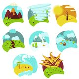 Natural catastrophe icon set, vector flat isolated illustration royalty free illustration