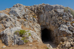 Natural cave in Fortezza Castle in Rethymno Royalty Free Stock Image