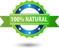 100% natural certificate. 100% natural green certificate badge Royalty Free Stock Photos