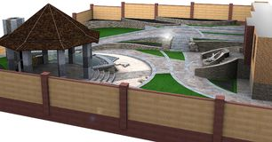 Garden pond and decking ideas, 3d rendering Royalty Free Stock Images