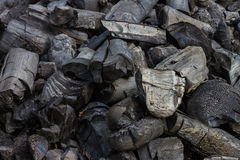 Natural charcoal. Pieces of black natural charcoal Royalty Free Stock Image