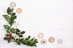 Natural Christmas background. Copy space Top view. Christma stock image