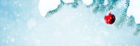 Natural Christmas background falling snow royalty free stock photography