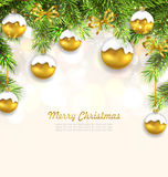 Natural Christmas Background with Fir Twigs. Illustration Natural Christmas Background with Fir Twigs and Glass Balls, Holiday Wallpaper - Vector royalty free illustration